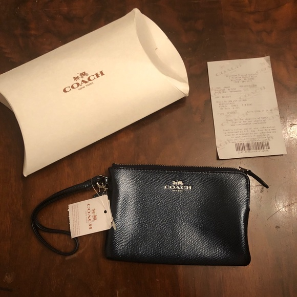Coach Handbags - Coach Crossgrain Corner Zip Wristlet Metallic Blue